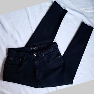 ZARA MAN Black Frayed Skinny Jeans